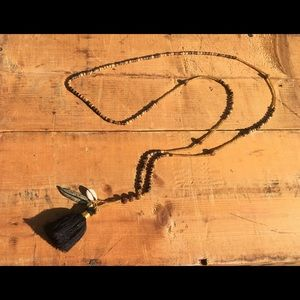 Black and brown tassel necklace